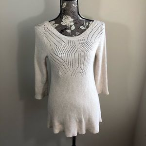 Knot & Knitted Three Quarter Sleeve Top Size Small